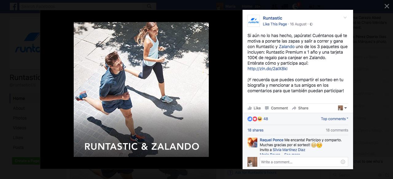 Entrada del concurso en la página de Facebook de Ruintastic