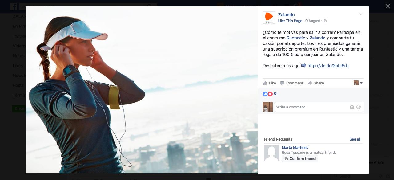 Post del concurso en la página de Facebook de Zalando