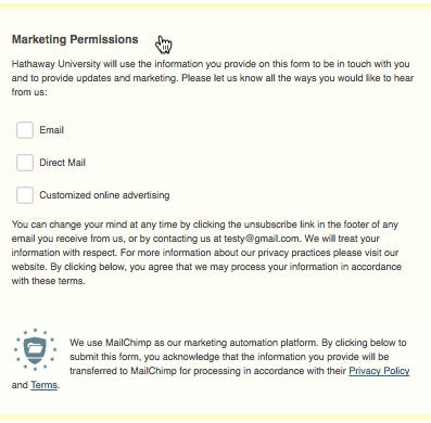 permisos marketing mailchimp