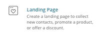 botón crear landing page mailchimp