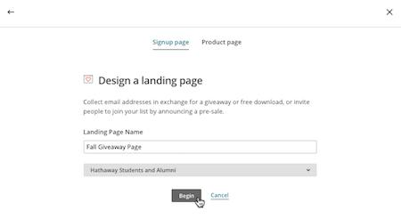 diseñar lansing page mailchimp