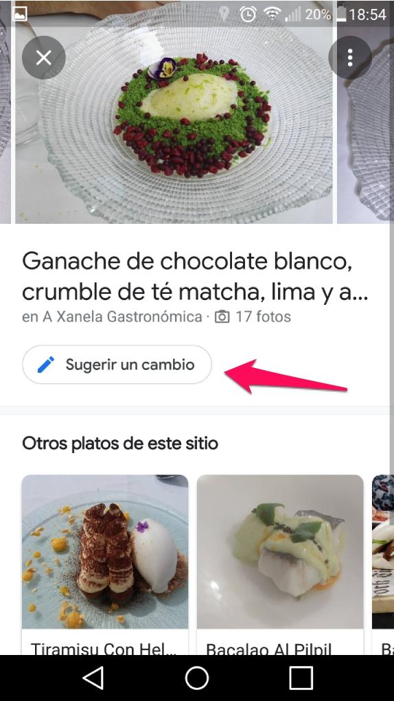 cambios platos populares google maps