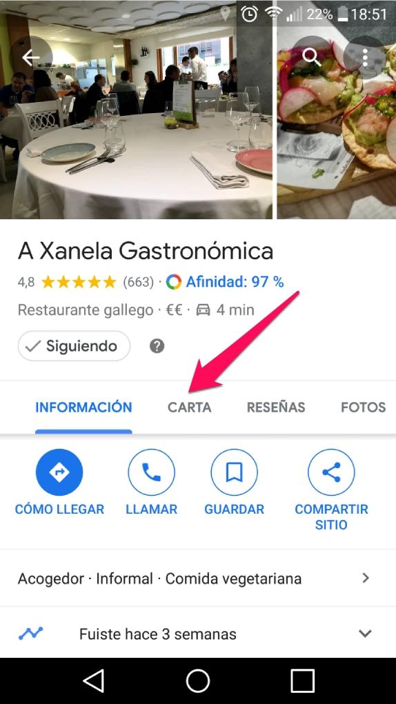 carta menu google maps