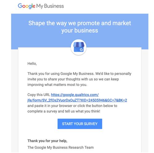 Encuesta que Google envió a empresas locales de Google MyBusiness