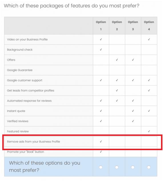 Algunas opciones de tarifa para Google MyBusiness