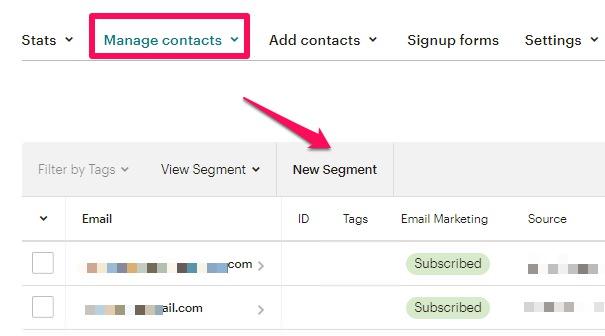 archivar varios contactos a la vez mailchimp