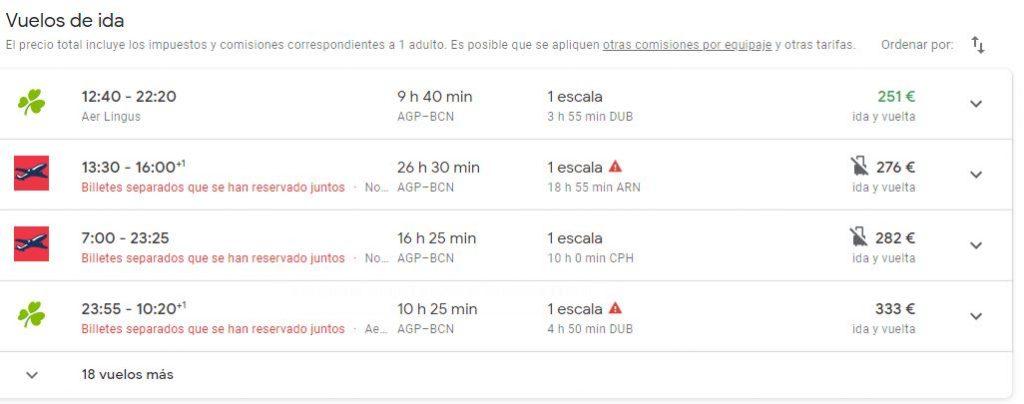ejemplo de anuncio de google flights
