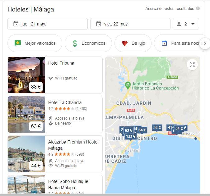 Ejemplo de anuncios de hoteles en Google