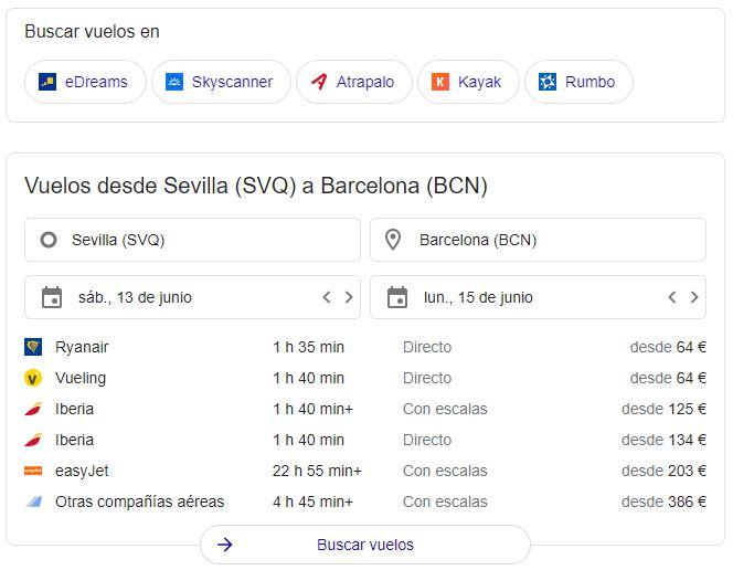 Información sobre vuelos en las páginas de resultados