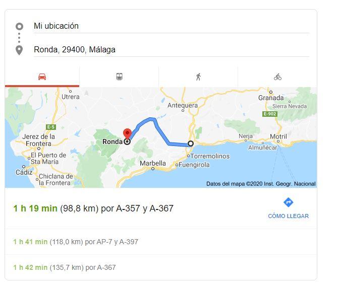 Funcionalidad de itinerario