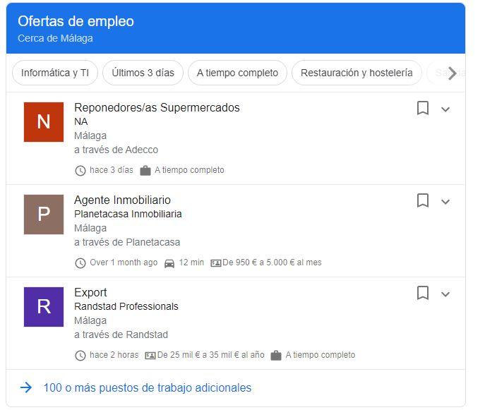 Ofertas de empleo en la página de resultados de Google