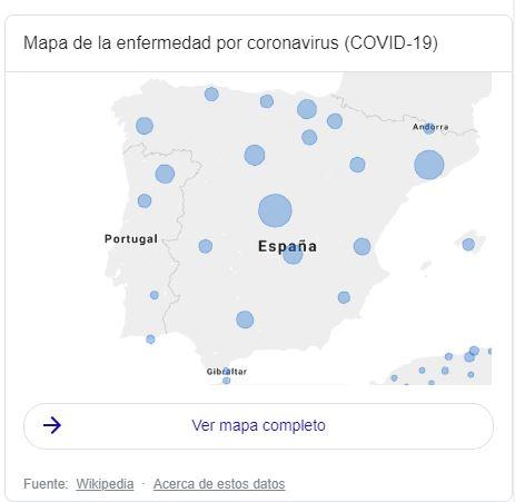 Mapa de burbujas con casos de COVID-19 en España