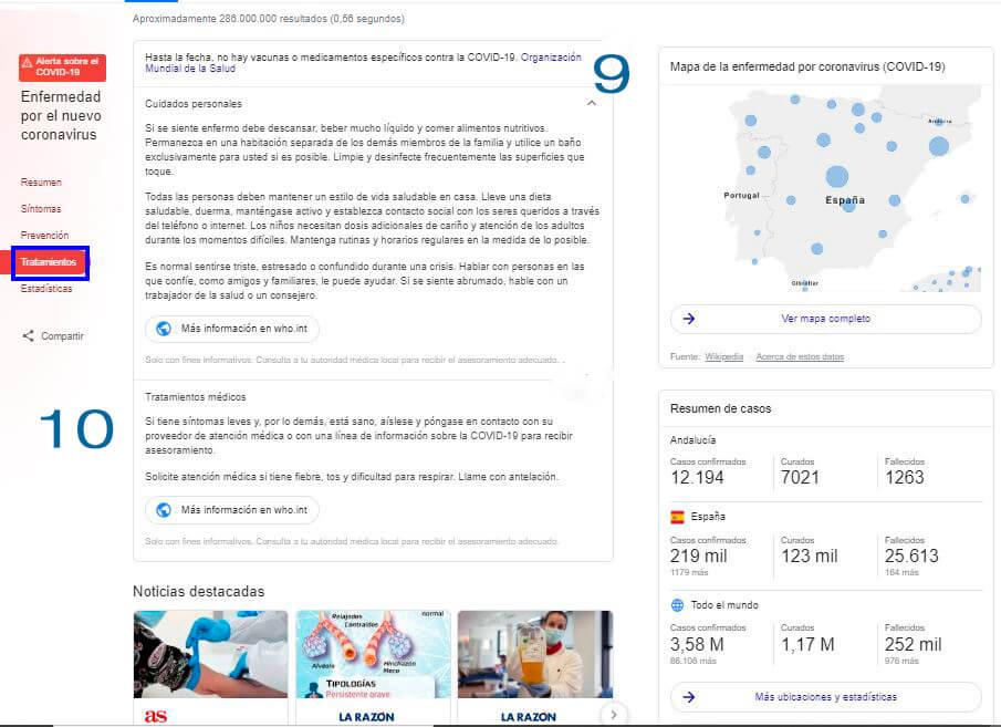 Menú apartado de tratamientos en las SERPS de Google