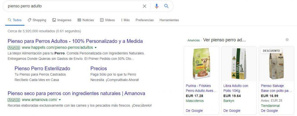 Ejemplo anuncios campañas SEM en Google